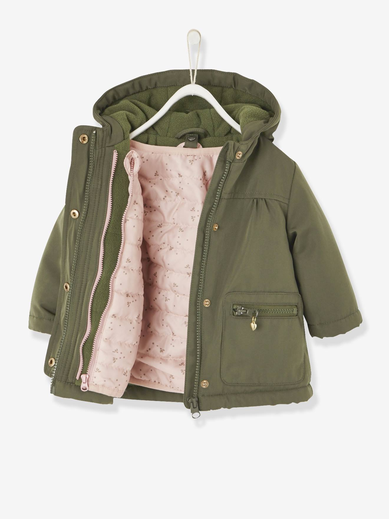 3 In 1 Parka With Removable Jacket, For Baby Girls BEIGE LIGHT SOLID