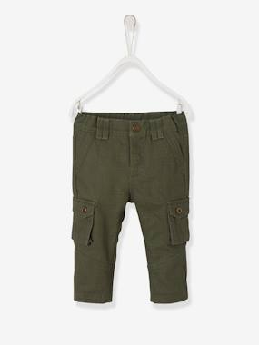 Baby-Trousers & Jeans-Lined Fabric Cargo Trousers for Baby Boys
