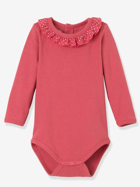 Pack of 2 Girls' Bodysuits, Collar with Frill PINK DARK 2 COLOR/MULTICOL OR - vertbaudet enfant
