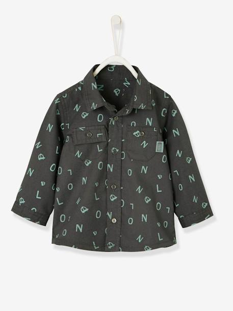 Shirt for Baby Boys, with Printed Motif GREY DARK ALL OVER PRINTED+WHITE LIGHT CHECKS - vertbaudet enfant