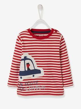 Vertbaudet Sale-Baby-T-shirts & Roll Neck T-Shirts-Striped T-Shirt for Baby Boys
