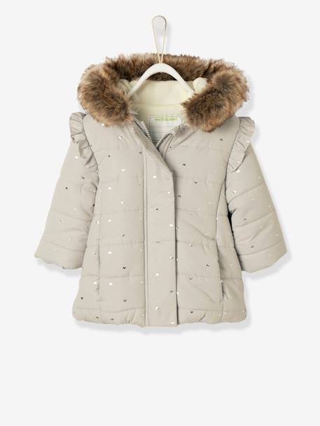 880722589 Long Padded Winter Jacket, for Baby Girls - grey light all over printed ...