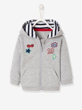 Happy week-Fleece Jacket with Zip and Patches for Baby Boys