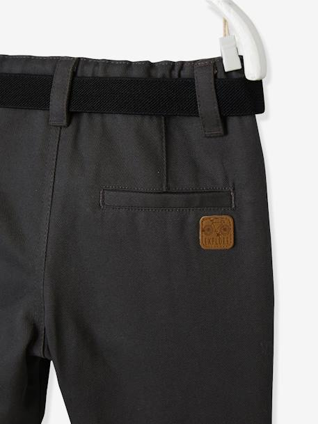 Baby Boys' Lined Fabric Trousers & Belt GREY DARK SOLID - vertbaudet enfant