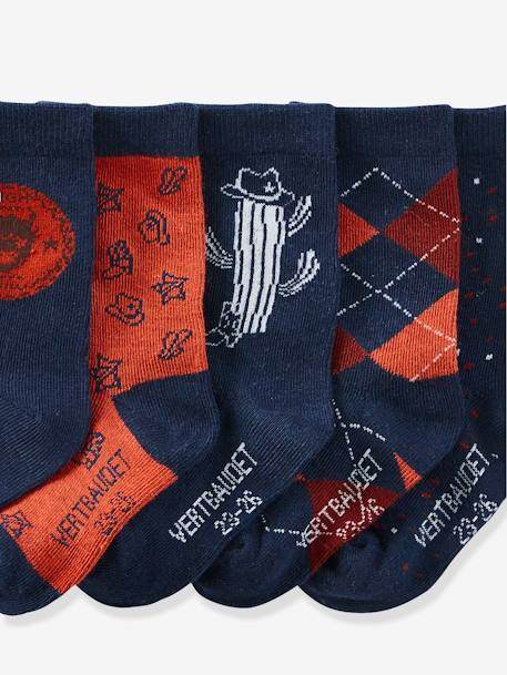 Pack of 5 Pairs of Socks for Boys, Cowboy Motifs RED MEDIUM 2 COLOR/MULTICOL - vertbaudet enfant