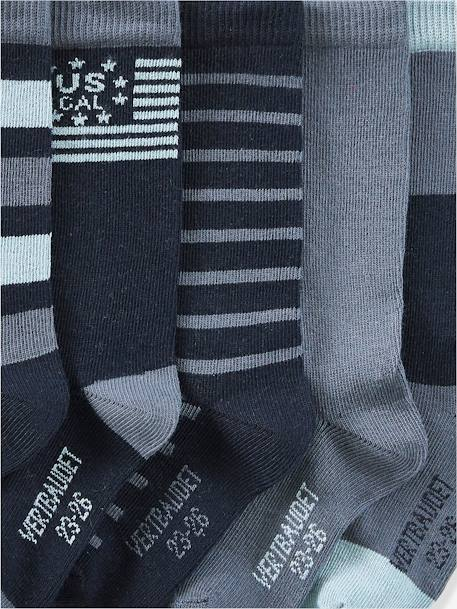 Pack of 5 Pairs of High Socks for Boys BLUE DARK SOLID WITH DESIGN+GREY MEDIUM MIXED COLOR - vertbaudet enfant