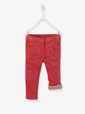 Baby-Trousers & Jeans-Lined Corduroy Trousers for Baby Girls