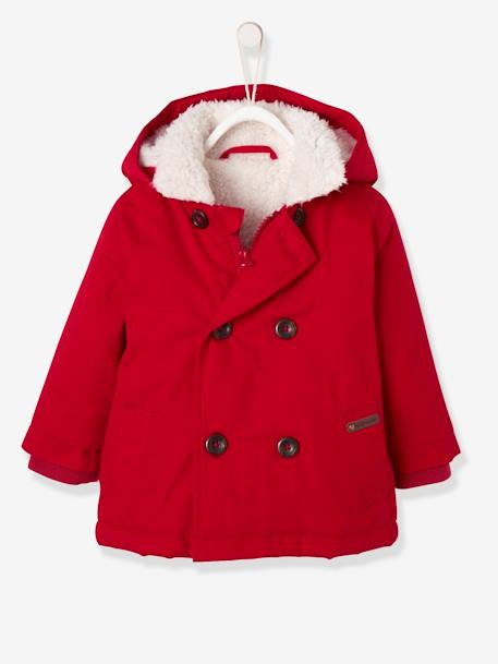 Baby Boys' Plush Lined Parka RED DARK SOLID - vertbaudet enfant