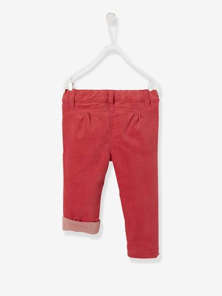 Lined Corduroy Trousers for Baby Girls GREY DARK SOLID WITH DESIGN+PINK DARK SOLID WITH DESIGN - vertbaudet enfant
