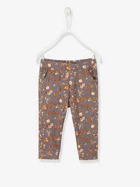 Baby-Trousers & Jeans-Printed Trousers with Lining for Baby Girls