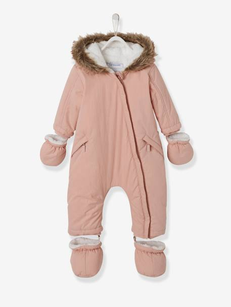 Baby Padded Jumpsuit with Plush Lining BEIGE LIGHT SOLID+GREY DARK SOLID - vertbaudet enfant