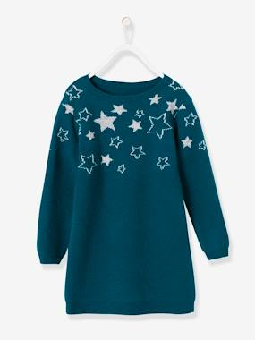 Vertbaudet Sale-Girls-Dresses-Knitted Dress with Shining Stars for Girls
