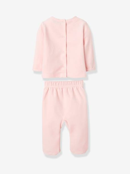 Pack of 2 Two-Piece Velour Pyjamas for Babies PINK LIGHT 2 COLOR/MULTICOL R - vertbaudet enfant