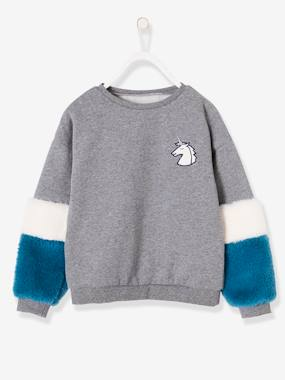 Fille-Pull, gilet, sweat-Sweat fille badge licorne manches aspect fourrure