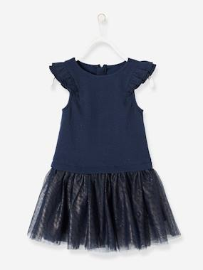 Vertbaudet Sale-Girls-Girls' Dual Fabric 2-in-1 Dress