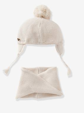 Baby-Hats & Accessories-Baby Girls Chapka & Snood Set