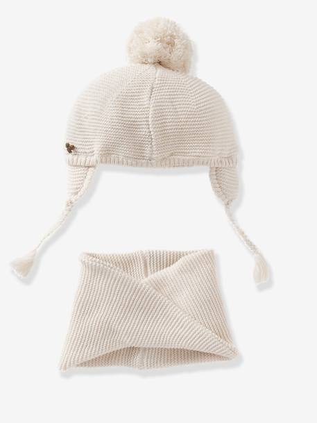 Baby Girls Chapka & Snood Set RED LIGHT SOLID+WHITE LIGHT SOLID - vertbaudet enfant