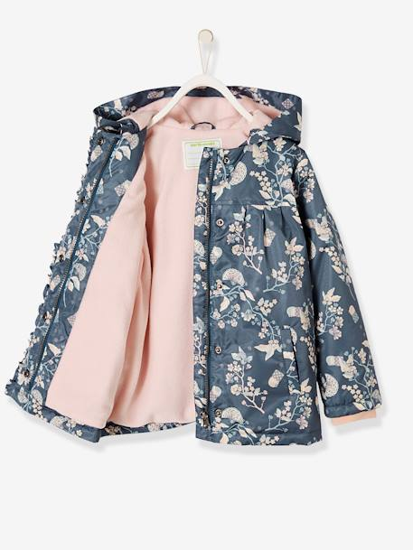 10a31795de Raincoat with Fleece Lining for Girls - blue dark all over printed …