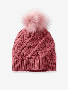 Girls-Accessories-Winter Hats, Scarves, Gloves & Mittens-Cable-Knit Beanie for Girls