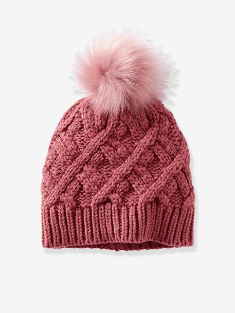 Cable-Knit Beanie for Girls GREY MEDIUM SOLID+PINK MEDIUM SOLID - vertbaudet enfant