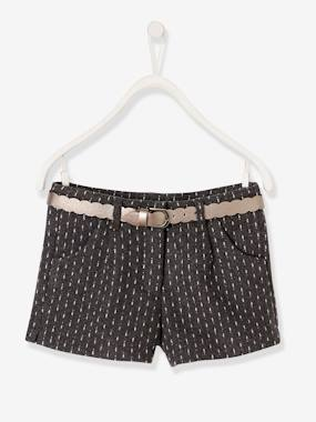 Girls-Shorts-Shorts in Woollen Fabric & Iridescent Waistband for Girls