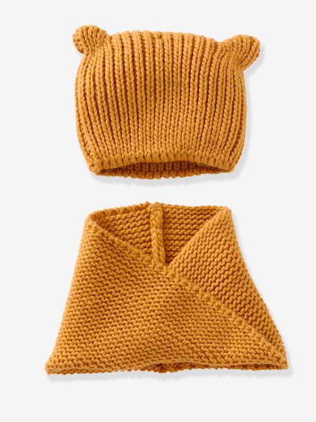 Snood fille + bonnet fantaisie BLEU+GRENAT+Jaune moutarde+ORANGE CLAIR - vertbaudet enfant