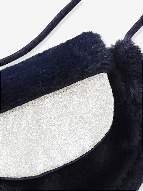 Small Faux Fur Handbag for Girls BLUE DARK TWO COLOR/MULTICOL - vertbaudet enfant