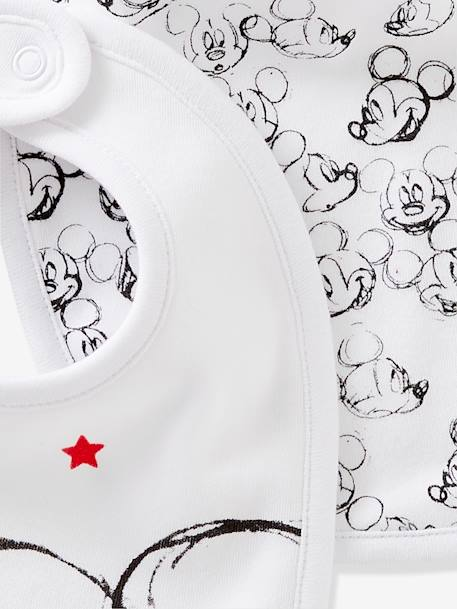 Pack of 2 Mickey® Print Bibs for Babies WHITE MEDIUM SOLID WITH DESIGN - vertbaudet enfant