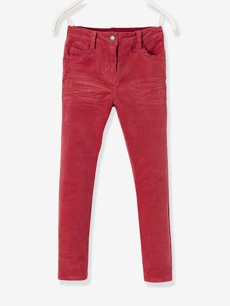MEDIUM Fit - Girls' Velvet Slim Trousers BLUE DARK SOLID+GREY DARK SOLID+PINK MEDIUM SOLID - vertbaudet enfant