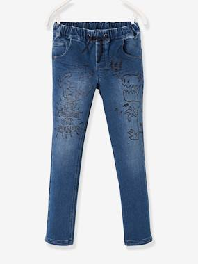 Vertbaudet Sale-Boys-Trousers-Denim-Effect Fleece Trousers for Boys, with Graffiti-Type Dinosaur