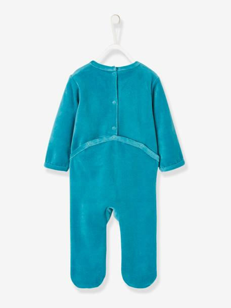 Pyjamas in Organic Velour for Babies, with Press-Studs on the Back GREEN DARK SOLID WITH DESIGN - vertbaudet enfant