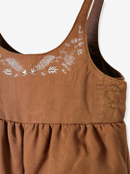 Loose-Fitting & Embroidered Jumpsuit for Baby Girls BROWN MEDIUM SOLID - vertbaudet enfant