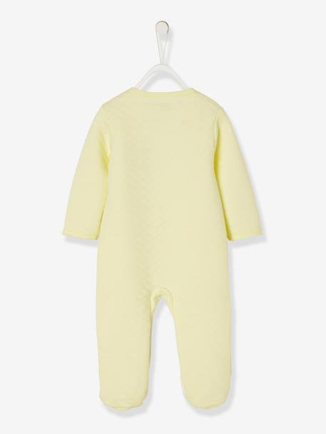 Pyjamas in Organic Fleece, Press-Studs on the Front, For Babies YELLOW LIGHT SOLID WITH DESIGN - vertbaudet enfant