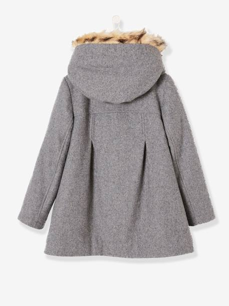 Girls' Wool Mix Coat BLUE DARK SOLID+GREY MEDIUM MIXED COLOR+RED MEDIUM SOLID - vertbaudet enfant