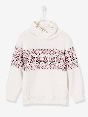 Vertbaudet Sale-Boys-Cardigans, Jumpers & Sweatshirts-Jacquard Jumper for Boys, Crossover Collar