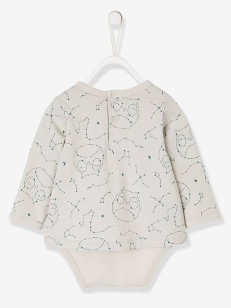 Bodysuit-Top with Pockets & Owl Print, for Newborn Babies GREY LIGHT ALL OVER PRINTED - vertbaudet enfant