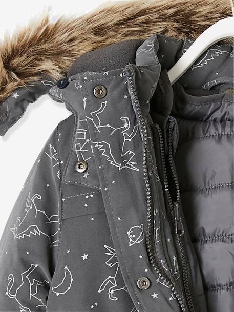 4-in-1 Parka with Fleece Lining for Girls BLUE DARK ALL OVER PRINTED+BROWN DARK SOLID+GREY DARK ALL OVER PRINTED+GREY MEDIUM  ALL OVER PRINTED+PINK LIGHT SOLID - vertbaudet enfant