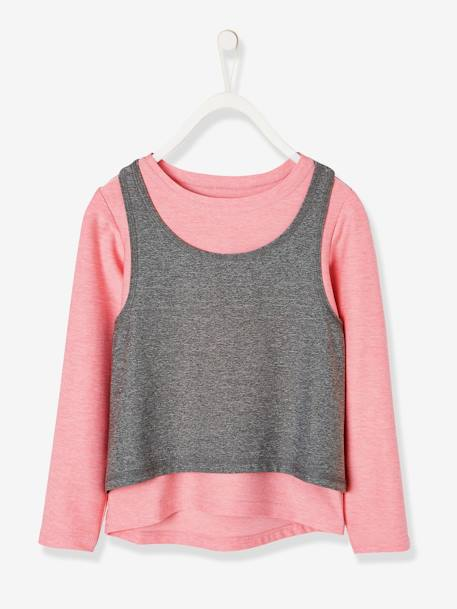 4f091a7c Long-Sleeved T-Shirt + Sports Vest Top for Girls - pink light solid, Girls