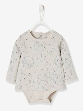 Baby-T-shirts & Roll Neck T-Shirts-Bodysuit-Top with Pockets & Owl Print, for Newborn Babies