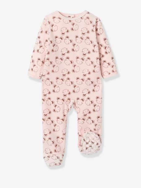 Pack of 2 Velour Pyjamas, Press Studs on the Back PINK LIGHT 2 COLOR/MULTICOL R - vertbaudet enfant