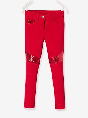 Vertbaudet Sale-Girls-Slim Leg Biker Trousers with Sequins for Girls