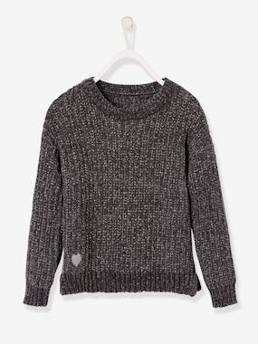 Fille-Pull, gilet, sweat-Pull-Pull fille maille chenille fil brillant