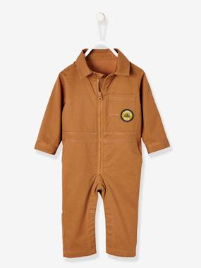 Baby-Dungarees & All-in-ones-Fabric Jumpsuit with Lining for Baby Boys