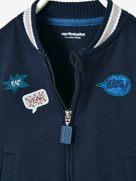 Fleece Bomber-Type Jacket for Babies BLUE DARK SOLID WITH DESIGN - vertbaudet enfant