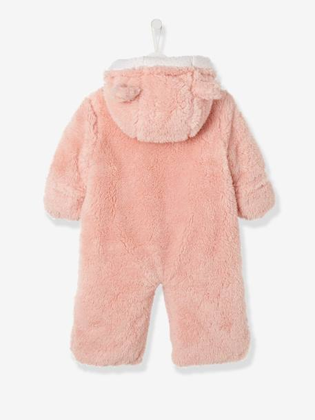 Newborn Faux Fur Convertible Snowsuit PINK LIGHT SOLID - vertbaudet enfant