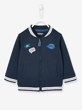 Baby-Cardigans & Sweaters-Fleece Bomber-Type Jacket for Babies