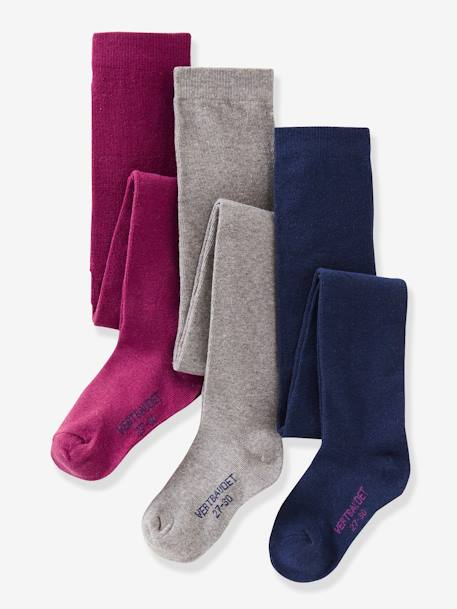 Girl's Pack of 3 Pairs of Jersey Knit Fabric Tights BLUE LIGHT TWO COLOR/MULTICOL+BROWN DARK 2 COLOR/MULTICOL+GREY MEDIUM MIXED COLOR+PINK DARK 2 COLOR/MULTICOL OR+PINK LIGHT 2 COLOR/MULTICOL R+YELLOW DARK 2 COLOR/MULTICOL - vertbaudet enfant