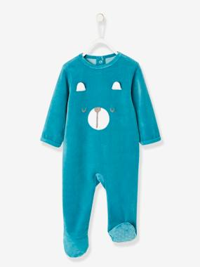 Baby-Pyjamas-Pyjamas in Organic Velour for Babies, with Press-Studs on the Back