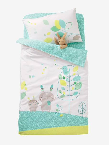 Baby Fitted Sheet, Northern Dream  Theme Green/white - vertbaudet enfant