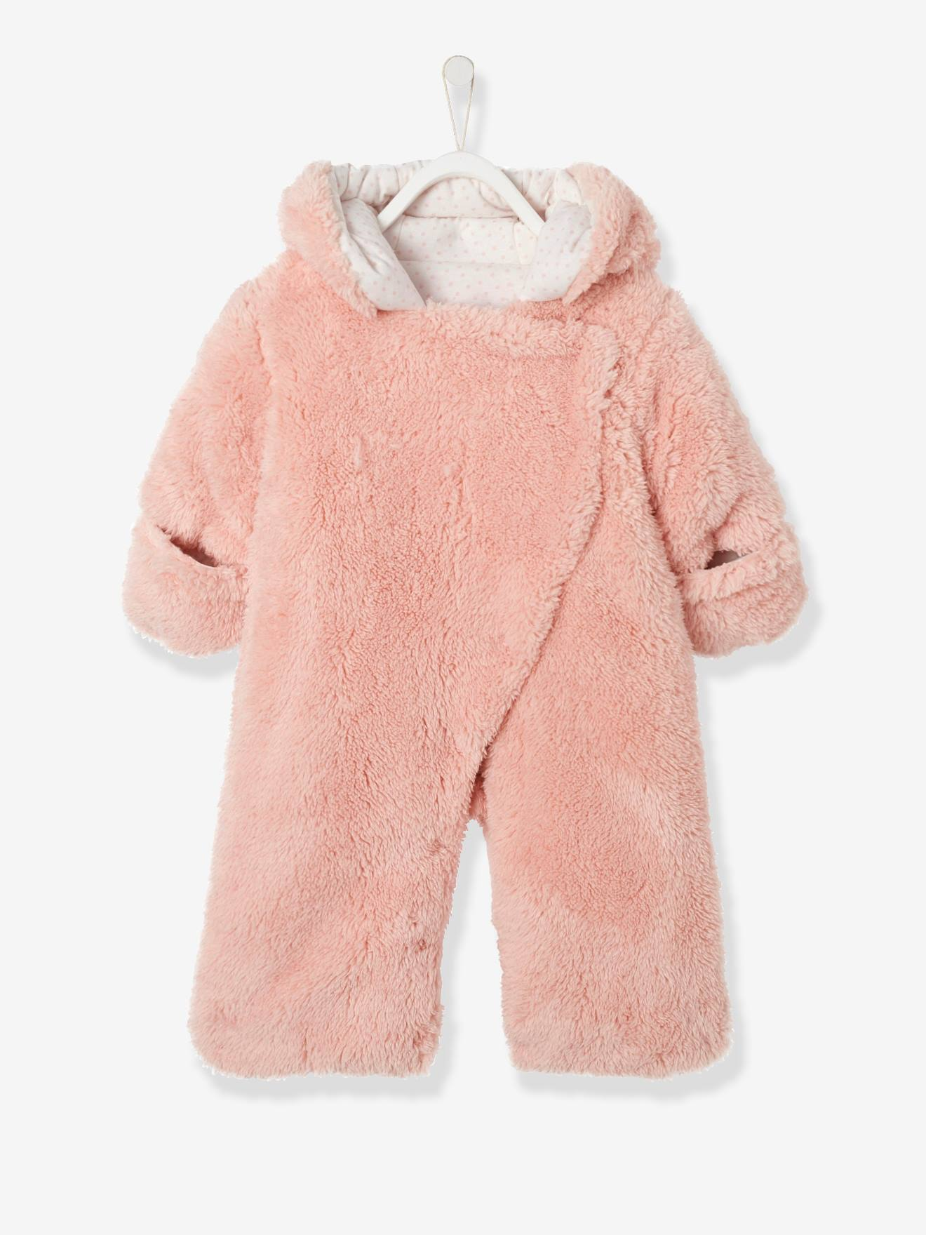 416af7275e9d Newborn Faux Fur Convertible Snowsuit - pink light solid